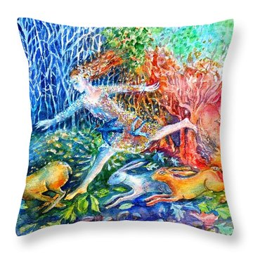 Dreaming With Hares Throw Pillow