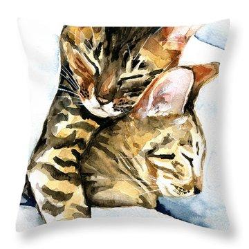 Dreamland - Bengal And Savannah Cat Painting Throw Pillow