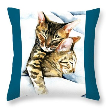 Dreamland - Bengal And Savannah Cat Painting Throw Pillow