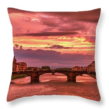 Saint Trinity Bridge From Ponte Vecchio At Red Sunset In Florence, Italy Throw Pillow