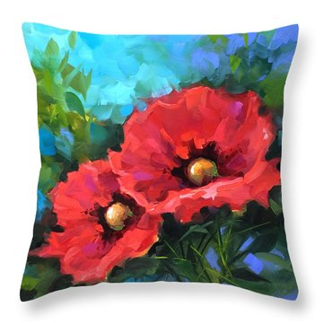 Dreams Of Flying Red Poppies Throw Pillow by Nancy Medina