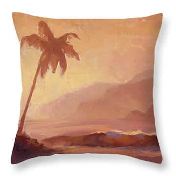 Throw Pillow featuring the painting Dreams Of Hawaii - Tropical Beach Sunset Paradise Landscape Painting by Karen Whitworth