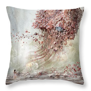 Throw Pillow featuring the digital art Dreamscape Flow No.1 by Te Hu