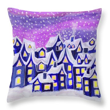 Dreamstown Blue, Painting Throw Pillow