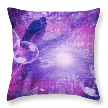 Throw Pillow featuring the digital art Flower Fractals  by Fine Art By Andrew David