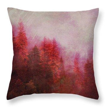 Throw Pillow featuring the digital art Dreamy Autumn Forest by Klara Acel
