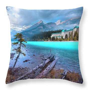 Throw Pillow featuring the photograph Dreamy Chateau Lake Louise by John Poon