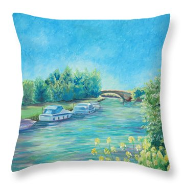 Throw Pillow featuring the painting Dreamy Days by Elizabeth Lock