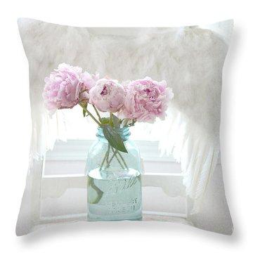 Dreamy Ethereal Angel Wings Pink Peonies Vintage Mason Aqua Blue Ball Jar - Shabby Chic Pink Peonies Throw Pillow