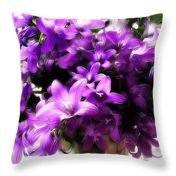 Throw Pillow featuring the mixed media Dreamy Flowers by Gabriella Weninger - David