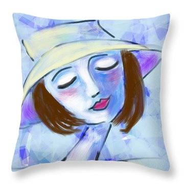 Dreamy Jeanne Throw Pillow by Elaine Lanoue