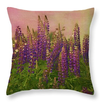 Dreamy Lupin Throw Pillow by Deborah Benoit