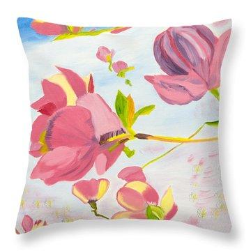 Dreamy Magnolias Throw Pillow by Meryl Goudey