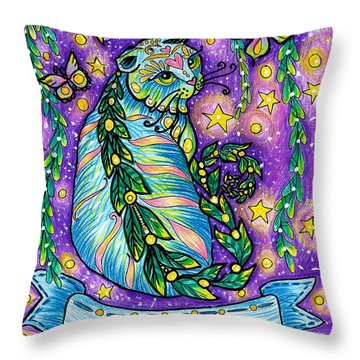 Dreamy Midnight Cat Purple Colored With Coloring Pencils Throw Pillow