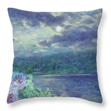 Dreamy Moon Over Peony Throw Pillow