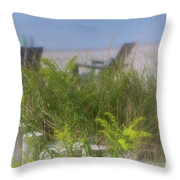 Dreamy Morning Walk On The Beach Throw Pillow