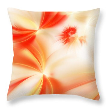Throw Pillow featuring the digital art Dreamy Orange And Creamy Abstract by Andee Design