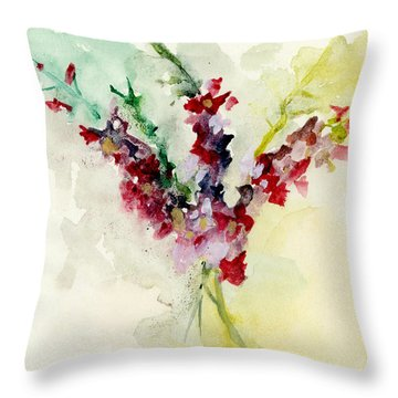 Throw Pillow featuring the painting Dreamy Orchid Bouquet by Lauren Heller