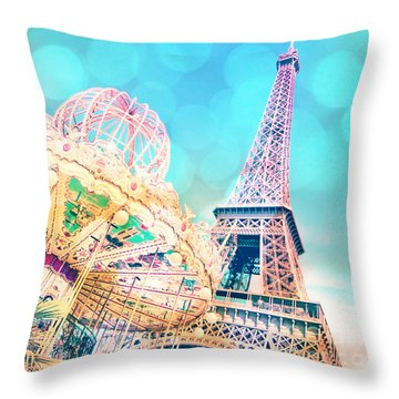 Dreamy Pastel Carousel Throw Pillow