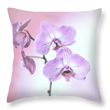 Throw Pillow featuring the photograph Dreamy Pink Orchid by Linda Phelps