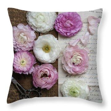 Throw Pillow featuring the photograph Dreamy Ranunculus  by Kim Hojnacki