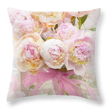 Dreamy Romantic Pink Yellow Peonies - Shabby Chic Pastel Pink Romantic Peonies Throw Pillow