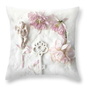 Dreamy Shabby Chic Pastel Floral Peony French Key Art  - Pink White Peony White Skeleton Key Decor  Throw Pillow