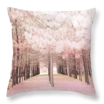 Throw Pillow featuring the photograph Dreamy Shabby Chic Pink Nature Pink Trees Woodlands - Pink Nature Nursery Prints Decor by Kathy Fornal