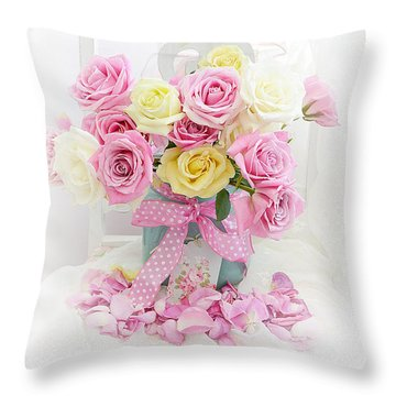 Throw Pillow featuring the photograph Dreamy Shabby Chic Pink Yellow Roses On White Chair - Vintage Pastel Cottage Pink Roses Home Decor by Kathy Fornal