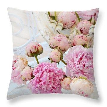Dreamy Shabby Chic Romantic Peonies - Garden Peonies White Mason Jars Throw Pillow
