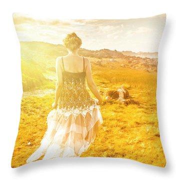 Dreamy Summer Fields Throw Pillow