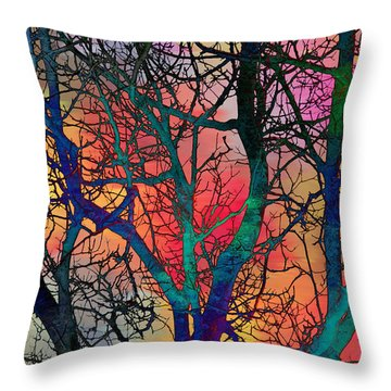Throw Pillow featuring the digital art Dreamy Sunset by Klara Acel