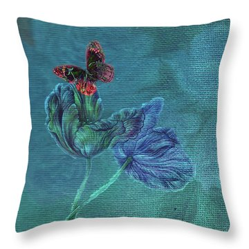 Dreamy Tulip With Gemlike Butterfly Throw Pillow