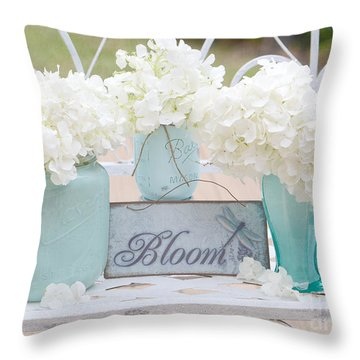 Dreamy White Hydrangeas - Shabby Chic White Hydrangeas In Aqua Blue Teal Mason Ball Jars Throw Pillow by Kathy Fornal