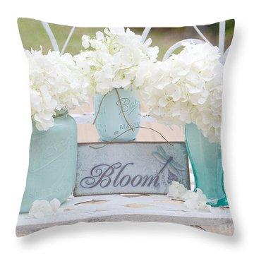 Dreamy White Hydrangeas - Shabby Chic White Hydrangeas In Aqua Blue Teal Mason Ball Jars Throw Pillow