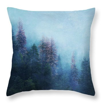 Throw Pillow featuring the digital art Dreamy Winter Forest by Klara Acel
