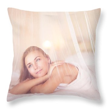Dreamy Woman In Bedroom Throw Pillow