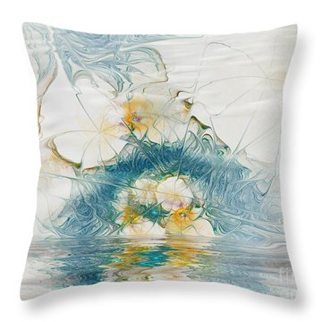 Dreamy World In Blue Throw Pillow by Deborah Benoit