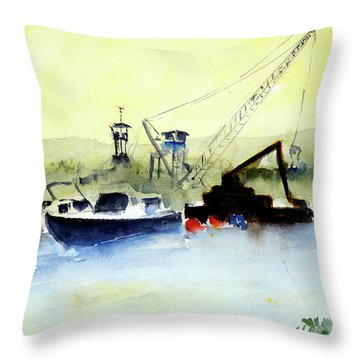 Dredging At Marin Yacht Club Throw Pillow