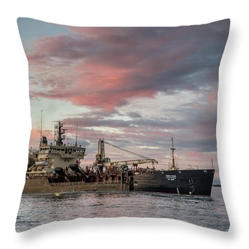 Dredging Ship Throw Pillow by Greg Nyquist