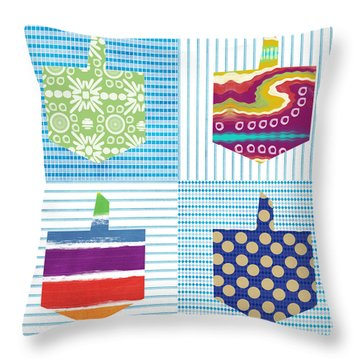 Dreidel Patchwork- Art By Linda Woods Throw Pillow