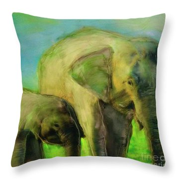Dreaming Of Elephants Throw Pillow
