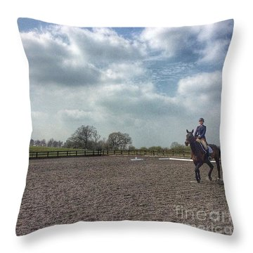 Dressage #horses #horse #horseriding Throw Pillow