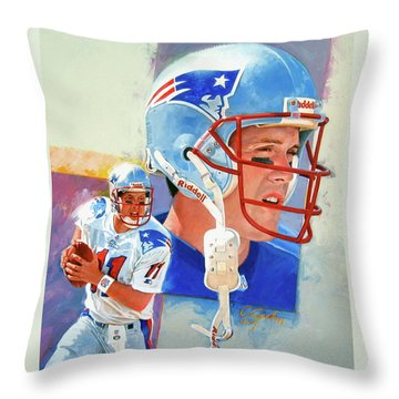Throw Pillow featuring the painting Drew Bledsoe by Cliff Spohn