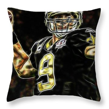 Drew Brees Collection Throw Pillow by Marvin Blaine