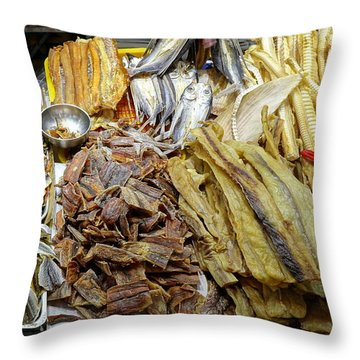 Throw Pillow featuring the photograph Dried Fish Is Sold At The Market by Yali Shi