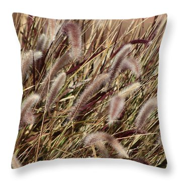 Dried Grasses In Burgundy And Toasted Wheat Throw Pillow