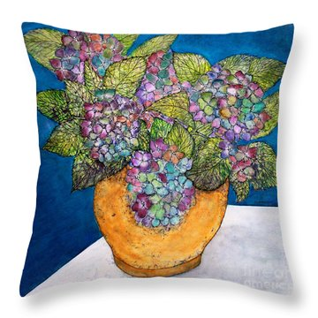 Dried Hydrangea Throw Pillow