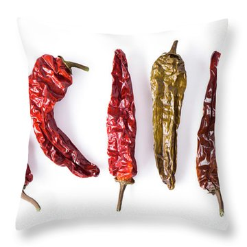 Dried Peppers Lined Up Throw Pillow
