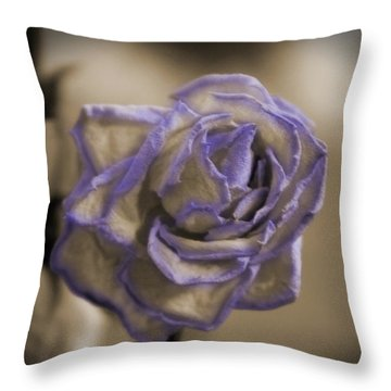 Dried Rose In Sienna And Ultra Violet Throw Pillow